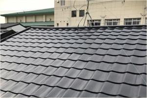 屋根のウレタン塗装後