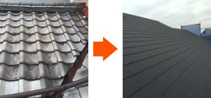 瓦のから屋根へ葺き替え工事したビフォー・アフター画像