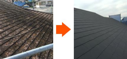 屋根の葺き替え工事のビフォー・アフター画像
