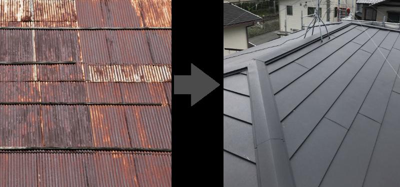 古いトタン屋根を新しいガルバリウム鋼板に葺き替え