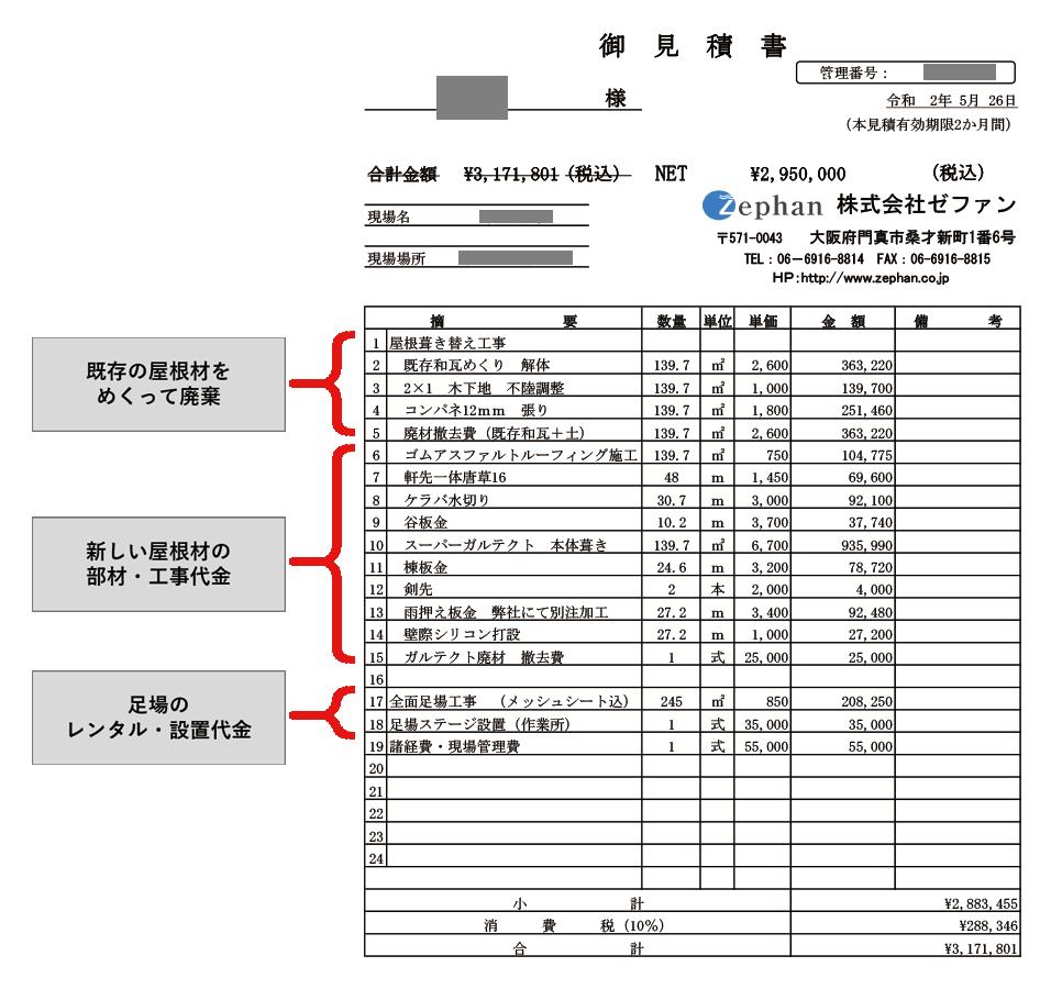 スーパーガルテクト270万円の見積書の一例